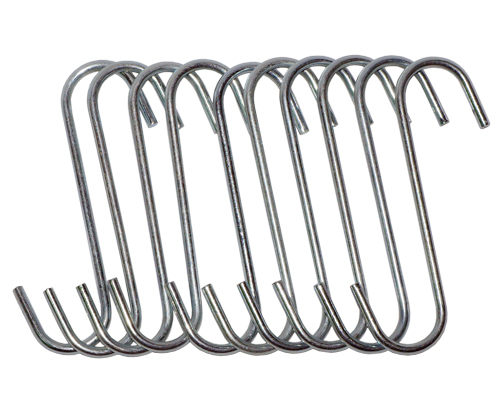 "10PC 5"" Heavy Duty S Hooks/Chrome Set"