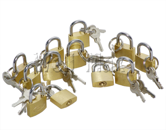 12PC 20mm Brass Plated Padlocks Sets