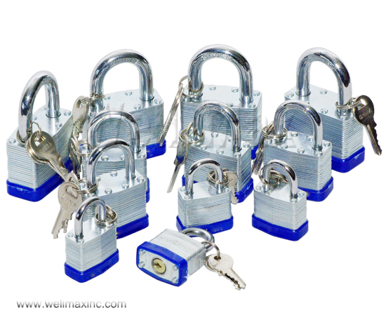 12PC Combination Laminated Keyed-Alike Padlocks