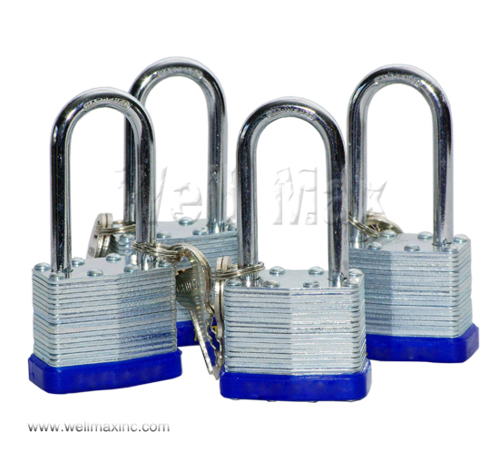 "4PC 1-1/2"" Long Shank Laminated Padlock Set"