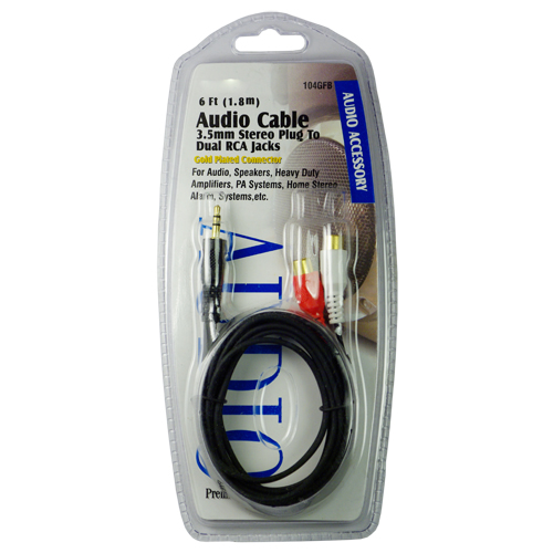 6FT Audio Cable 3.5MM Stereo Plug to Dual RCA Jacks