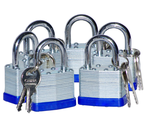 "6PC 1-1/2"" Short Shank Laminated Padlock Set"