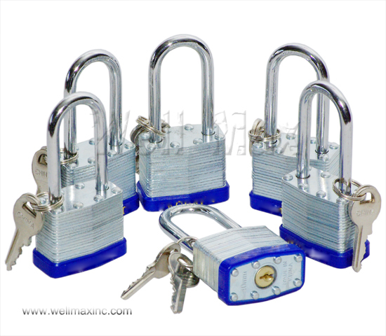 "6PC 1-1/2"" Long Shank Laminated Padlock Set"