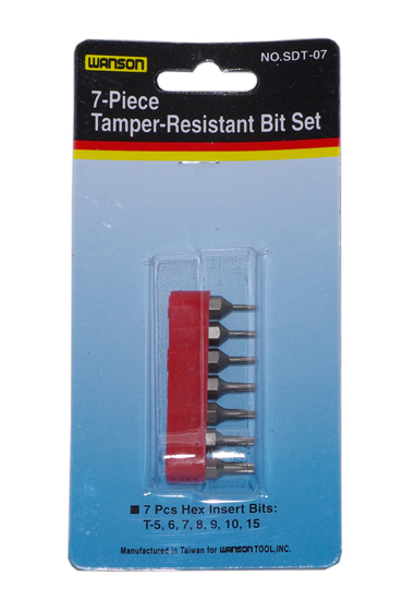 7PC Tamper-Resistant Bit Set