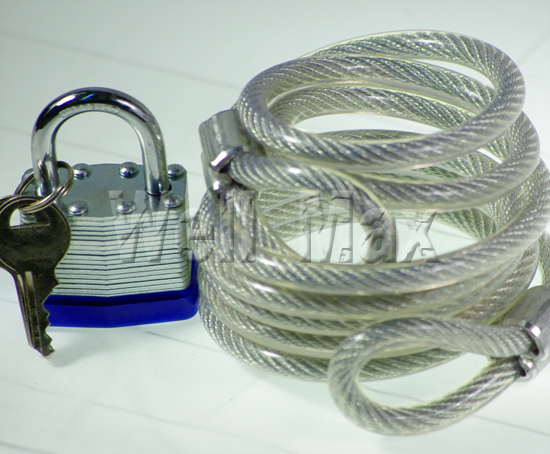 Coil Cable With 40mm Laminated Padlock