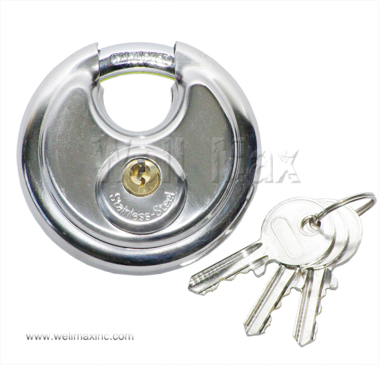 "70mm (2-3/4"") Stainless Steel Round Padlock"