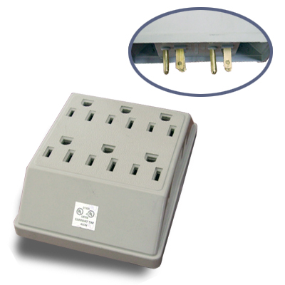 6 Outlet Grounding Wall Type Adapter